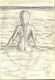 naakt loppt de zee in